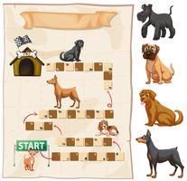 Modèle de jeu avec des chiens en arrière-plan