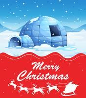 Christmas card template with igloo on snow ground