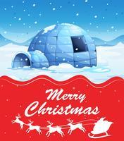 Christmas card template with igloo on snow ground