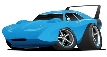 Classic American Muscle Car Hot Rod Cartoon Vector Illustration