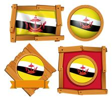Flag of Brunei in different frames