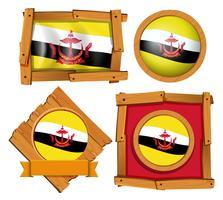 Flagge von Brunei in verschiedenen Rahmen
