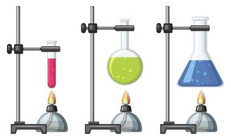 Beakers with chemical and burner