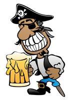 Personaggio dei cartoni animati del pirata con la gamba di Peg, la toppa dell'occhio e l'illustrazione di vettore della birra