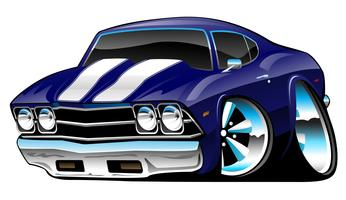 Classic American Muscle Car Cartoon, Deep Blue, Vector Illustration
