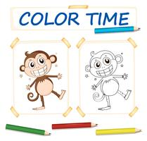 Coloring template with happy monkey
