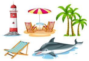 Farol e golfinho para conjunto de praia