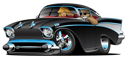 Classic hot rod fifties muscle car with cool couple vector illustration