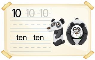 Number ten panda worksheet