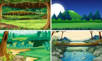 Quatre scènes de la nature jour et nuit
