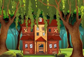 Spökat hus i skogen