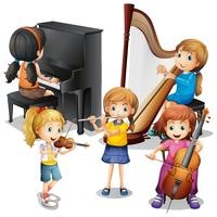 Many children playing classical music