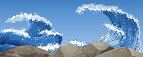 Stora vågor över klipporna