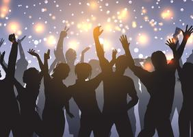 Party crowd on bokeh lights background