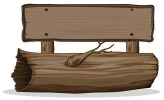 Tree trunk wooden signboard