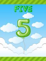 Balão número cinco no céu