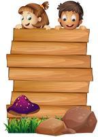 Modello di tavola di legno con ragazzo e ragazza