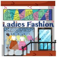 A lady fashion store on white background