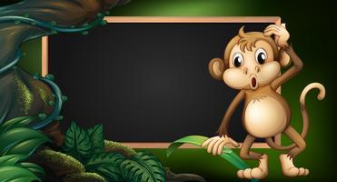 Modelo de quadro com macaco em estado selvagem vetor