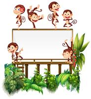 Frame template with little monkeys
