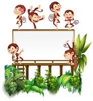 Plantilla de marco con pequeños monos