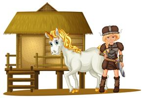 Female viking and unicorn by the wooden hut