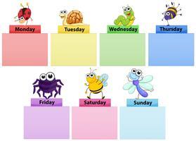 Modelo de banner de dias da semana com insetos coloridos