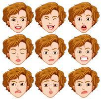 Conjunto de expressão facial de jovem