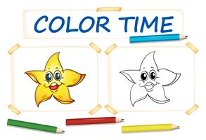 Coloring template with happy star