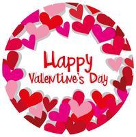 Modello di carta felice San Valentino con cuori in rosso e rosa