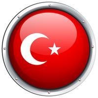 Turkiet flagga på rund ram