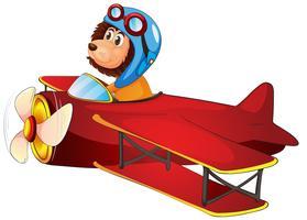 Ein Löwe, der ein klassisches Flugzeug reitet
