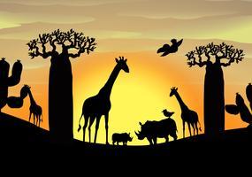 Cena de fundo com animais selvagens no campo
