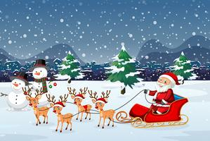Santa montando trineo al aire libre