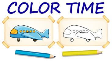 Coloring template with airplane