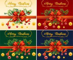 Quatro cartões de Natal com fundos de cores diferentes