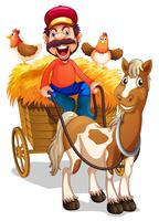 Un granjero montando un carro de caballos.