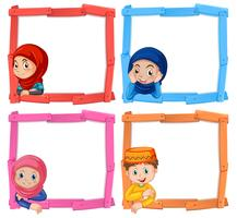 A set of muslim children frame