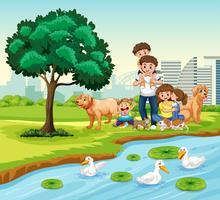 Familj på parken