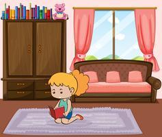 Klein meisje leesboek in de slaapkamer