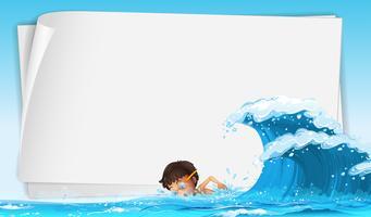 Plantilla de frontera con niño nadando en el océano