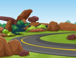Scena con montagna rocciosa e strada