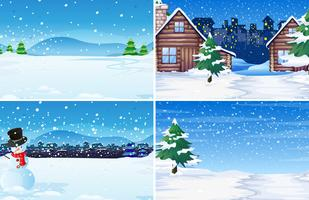 Set of winter outdoor background