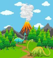 Två dinosaurer och vulkanutbrott