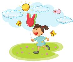 Liten tjej som rymmer ballonger i parken
