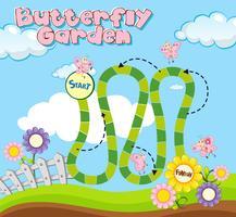Plantilla de juego de mesa con mariposas en el jardín.