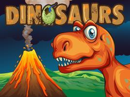 Design de cartaz com dinossauro T-Rex