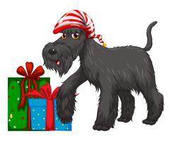 Weihnachtsthema mit Hund und Geschenk