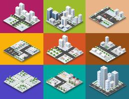 Concetto isometrico del creatore del modulo di città di urbano