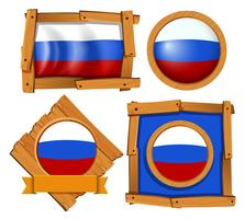 Russia flag on different frames vector